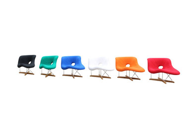 Replica Eames La-Chaise - Premium Wool blend Fabric with natural timber legs