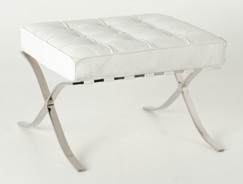 Replica Barcelona footstool-white Italian leather with PU piping