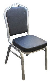 Banquet Chair Silver Black Faux Leather (bf)