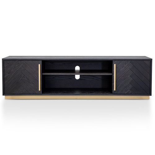 Wilma 1.8m Wooden Entertainment TV Unit - Peppercorn and Brass (cf)