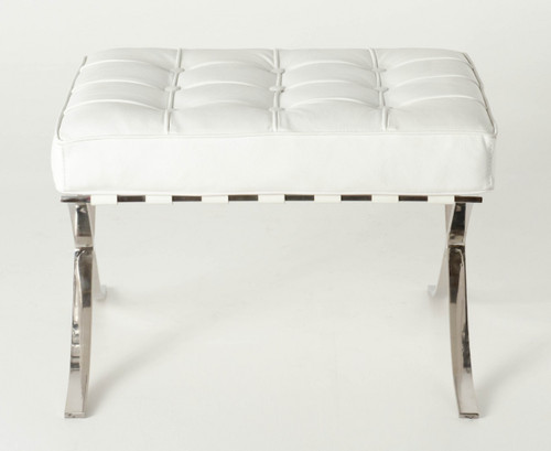 Replica Barcelona footstool-white Italian leather with leather piping