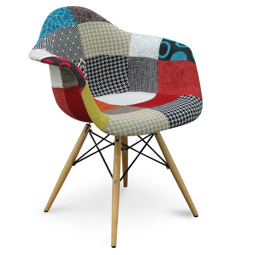 Replica Eames DAW Eiffel Armchair - new patchwork - plastic, black steel, natural wood legs