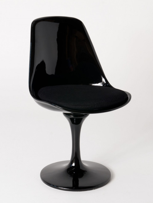 Replica Eero Saarinen Tulip Chair - Black Plastic - choice of leather cushion