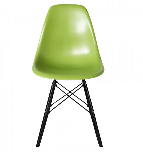 Replica Charles Eames DSW Dining Chair - plastic, black steel, black timber legs - various colour seats