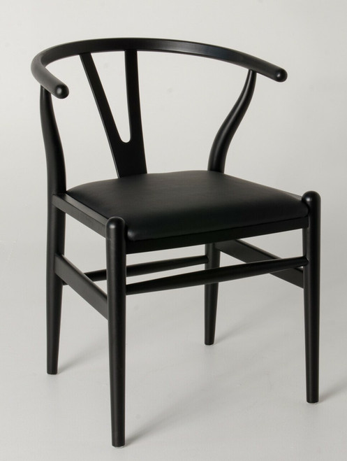 """Ex Display - Replica Hans Wegner """"CH24"""" Wishbone Chair - Black Frame with Leather seat - Beech Timber - CLEARANCE"""