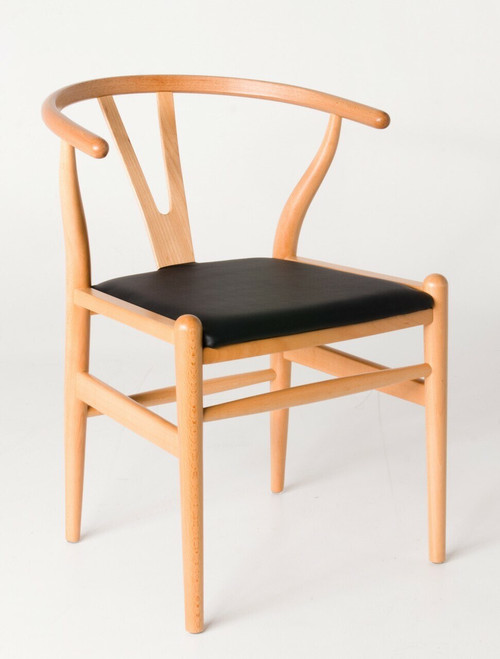 """Ex Display - Replica Hans Wegner """"CH24"""" Wishbone Chair - Natural Frame with PU seat - Beech Timber - CLEARANCE"""