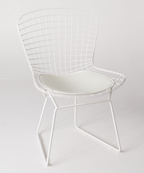 Replica Harry Bertoia Bird Chair white powdercoated with white seat cushion only