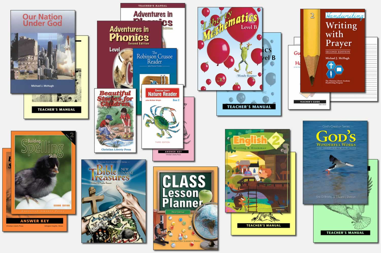 Sample Second Grade Curriculum (actual books may vary; test packets not shown)