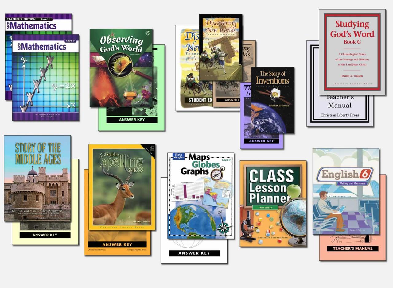 Sample Sixth Grade Curriculum (actual books may vary; test packets not shown)