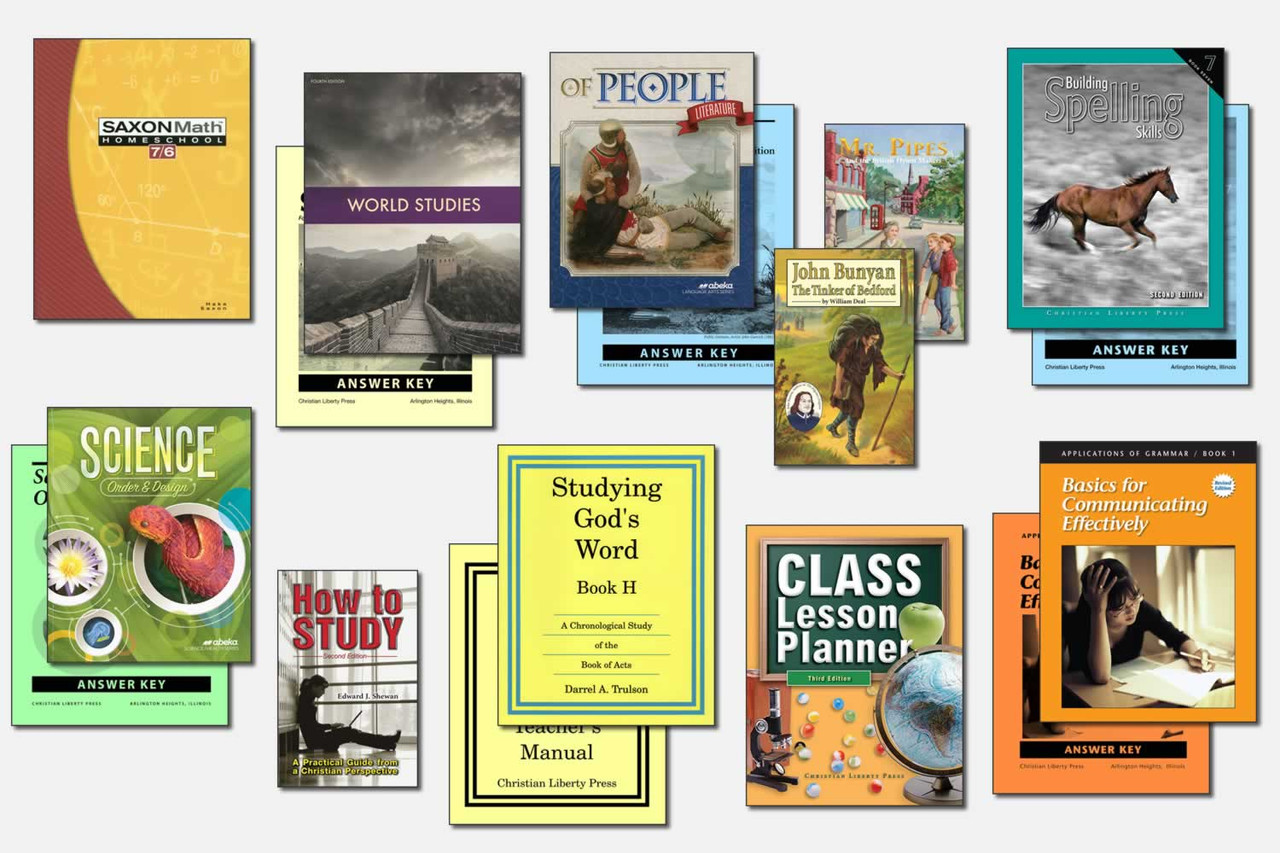 Sample Seventh Grade Curriculum (actual books may vary; test packets not shown)