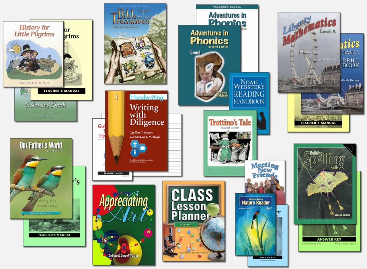 Sample First Grade Curriculum (actual books may vary; test packets not shown)