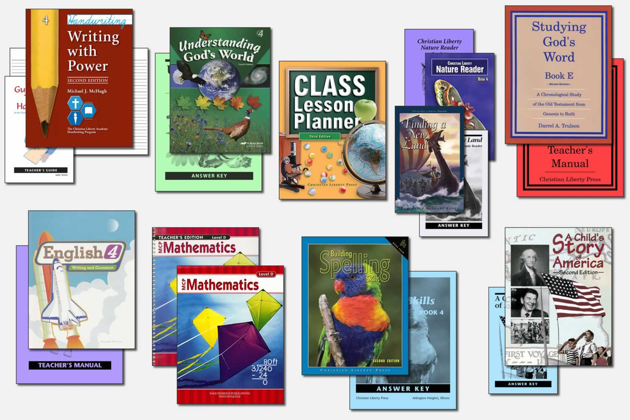 Sample Fourth Grade Curriculum (actual books may vary; test packets not shown)