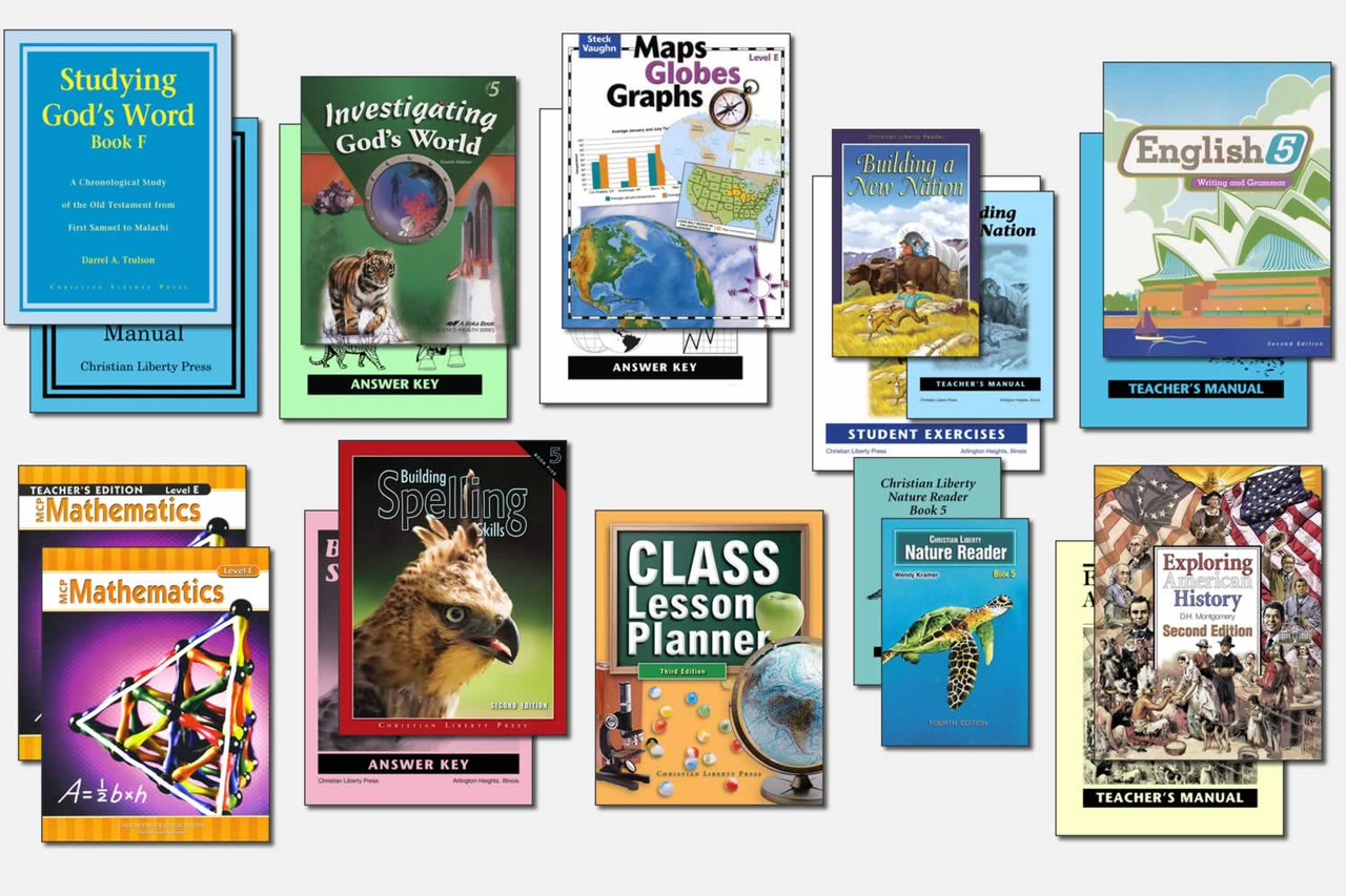 Sample Fifth Grade Curriculum (actual books may vary; test packets not shown)