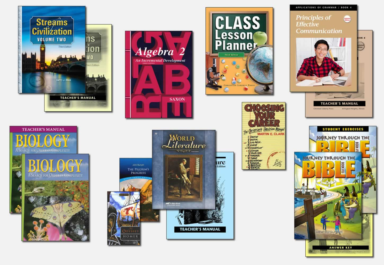 Sample Tenth Grade Curriculum (actual books may vary; test packets not shown)