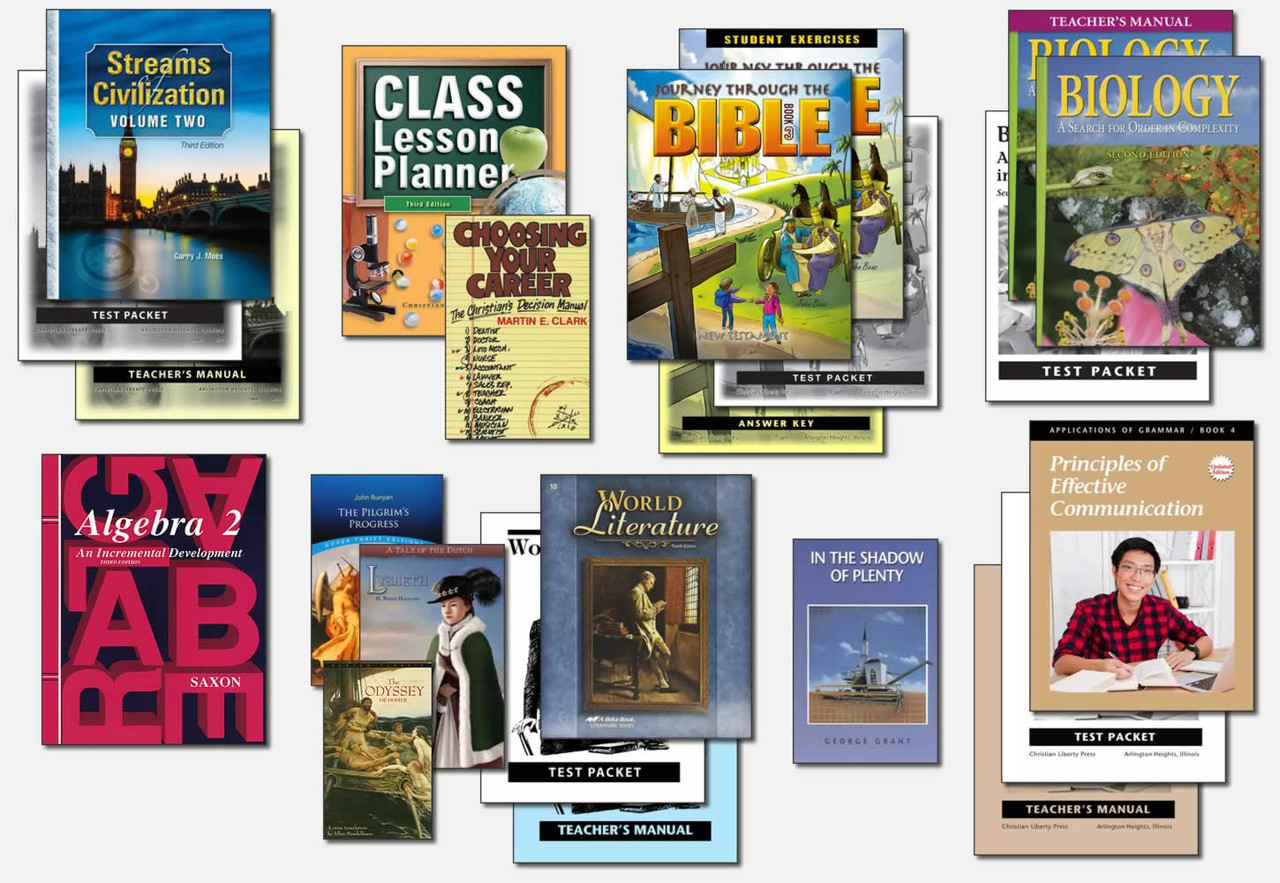 Kit shown with the Journey Through the Bible 3 and Saxon Algebra 2 Math options.