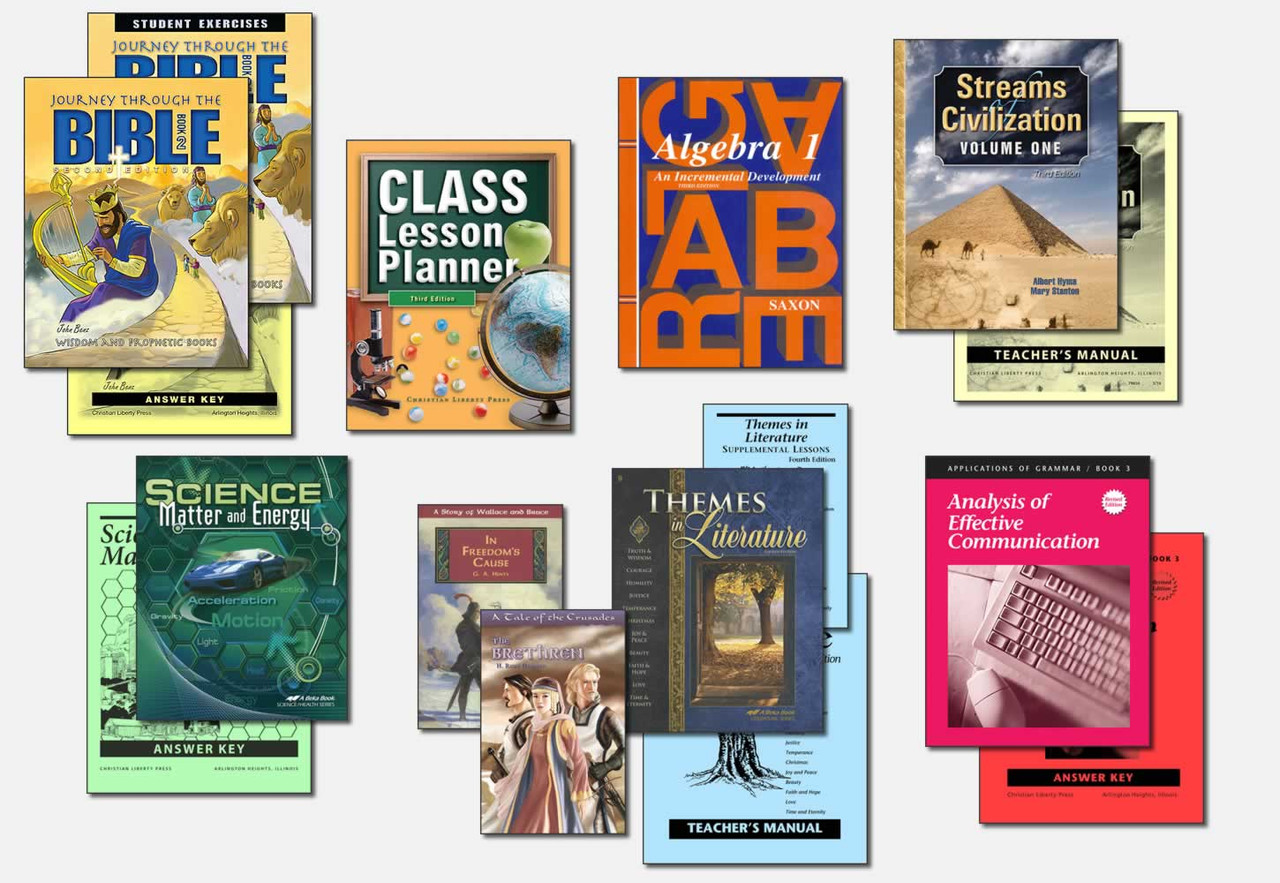 Sample Ninth Grade Curriculum (actual books may vary; test packets not shown)