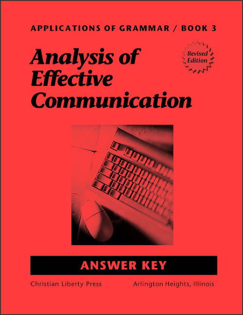 Applications of Grammar Book 3: Analysis of Effective Communication - Answer Key