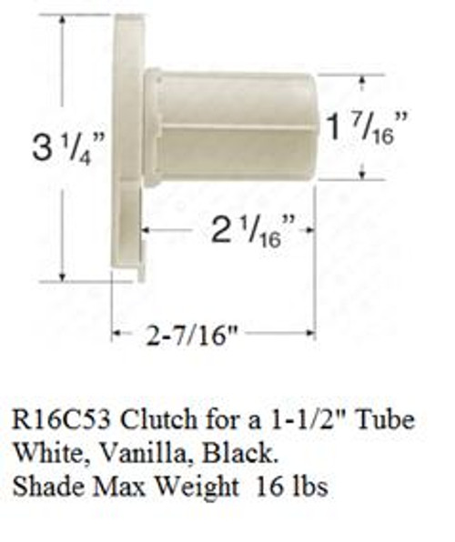 "RollEase Exterior R16C53 Clutch for use with 1 1/2"" Tube - Mulitple Colors"