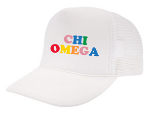 Chi Omega Embroidered Rainbow Trucker Hat