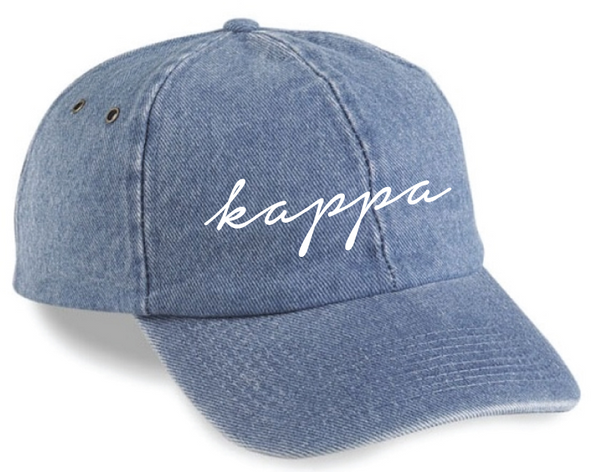 19a518abbb Kappa Kappa Gamma Script Embroidered Denim Cap - Clothes On
