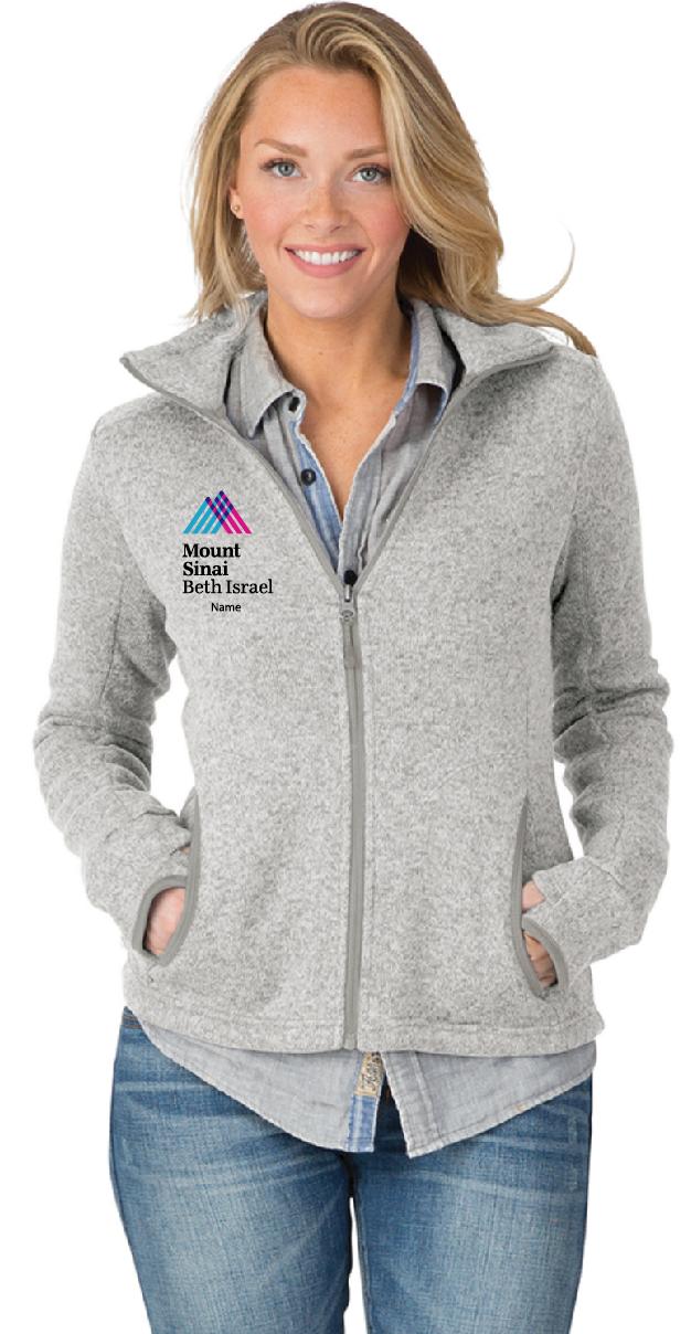 Mount Sinai Beth Israel Charles River Apparel Ladies Full-Zip Heathered Fleece Jacket