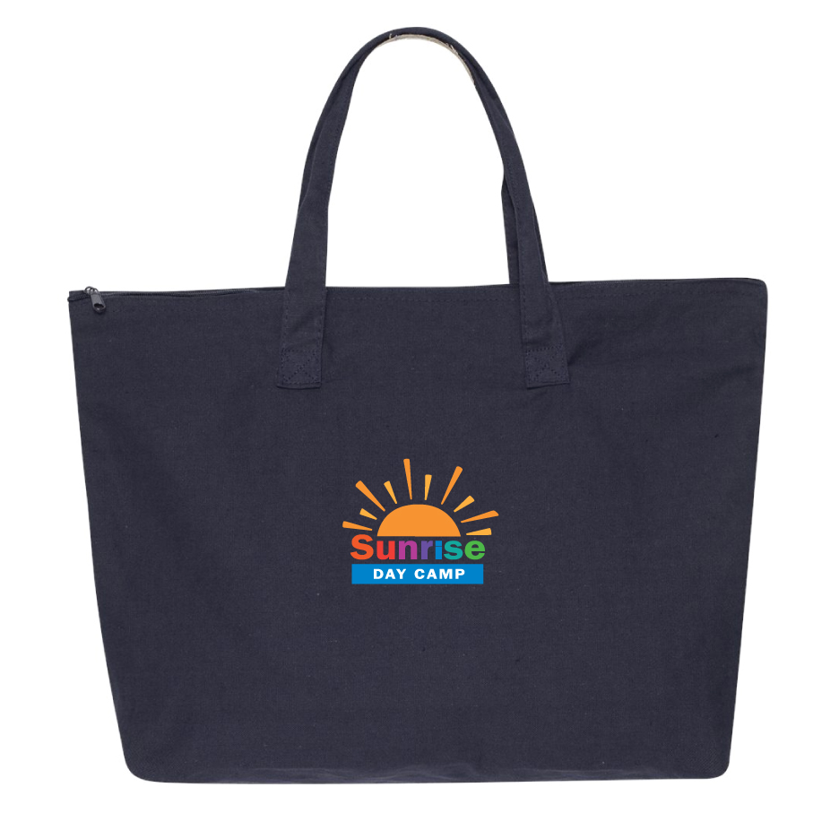 """Zippered Large (22"""") Cotton Canvas Tote"""