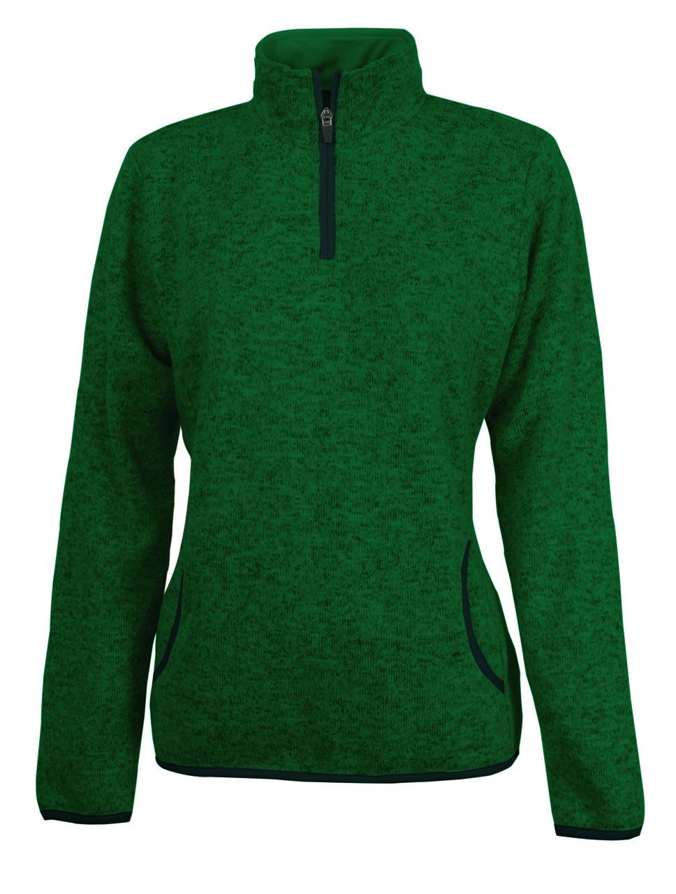 Charles River Apparel Ladies Heathered 1/4 Zip Sweatshirt