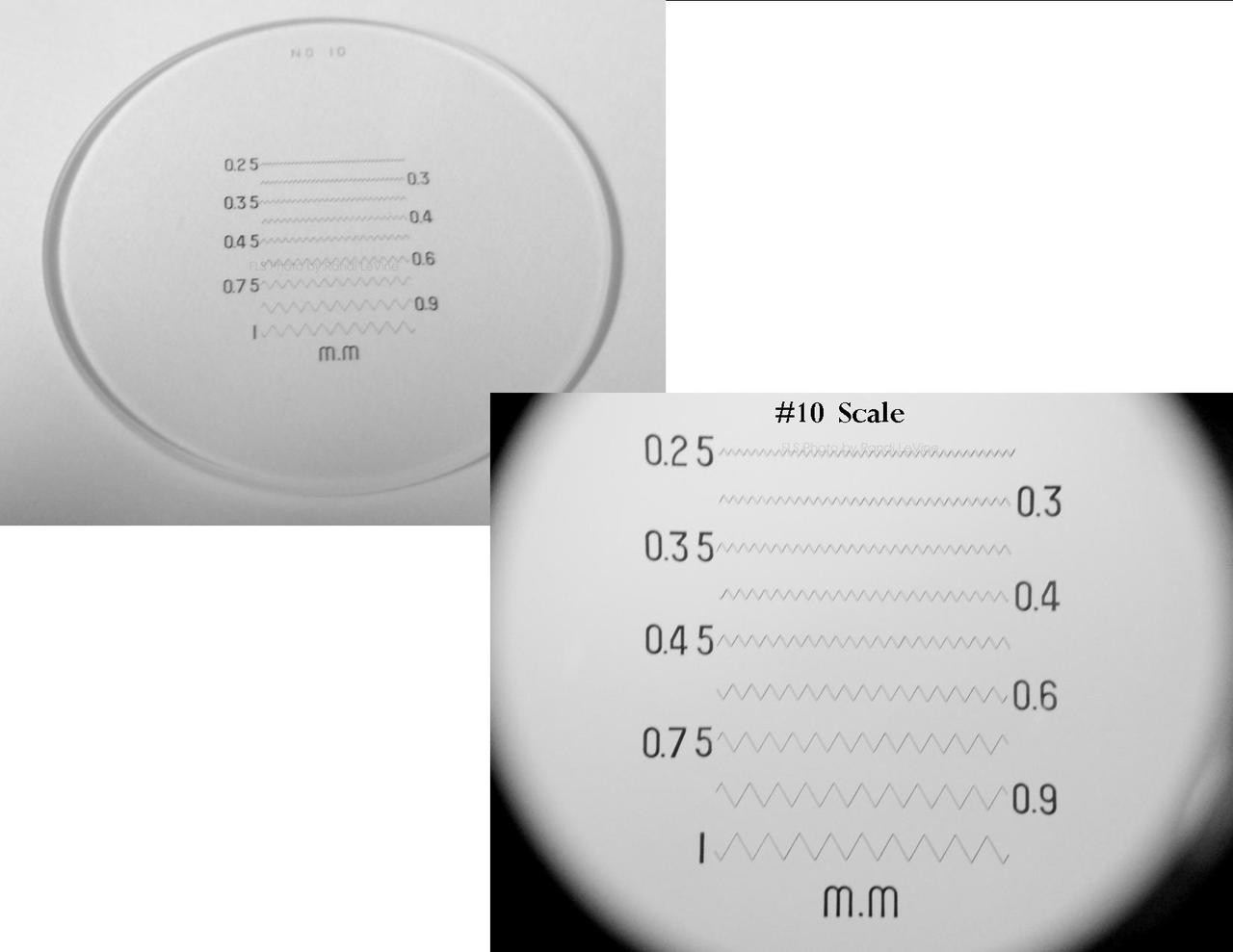 Optical Comparator Reticles , Peak Scale for 10X Loupe 1983 , Ret-1983-10 , #10 Scale