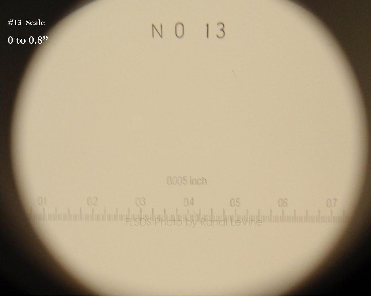 Optical Comparator Reticles , Scale for Peak 2016 , Reticle-2016-13 , #13 Scale