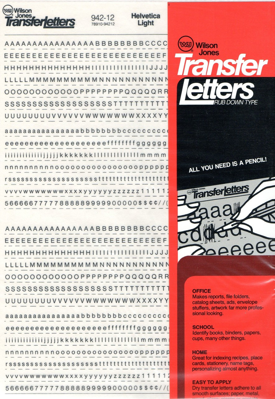 "Rub On , Dry Transfer , Letter , Decals , 12pt , 1/8"" , 942-12"