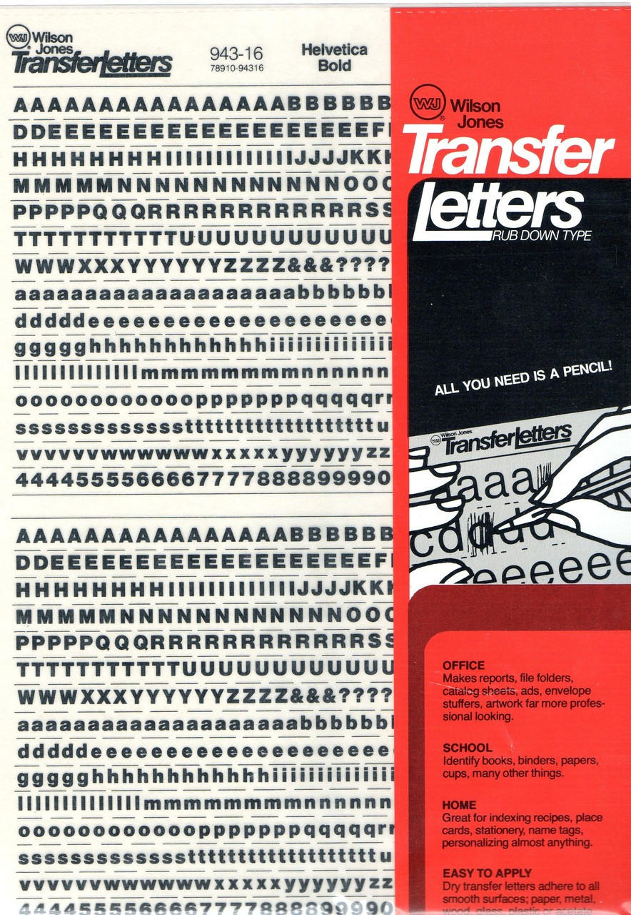 WJ Rub On Dry Transfer Letter Decals 16pt