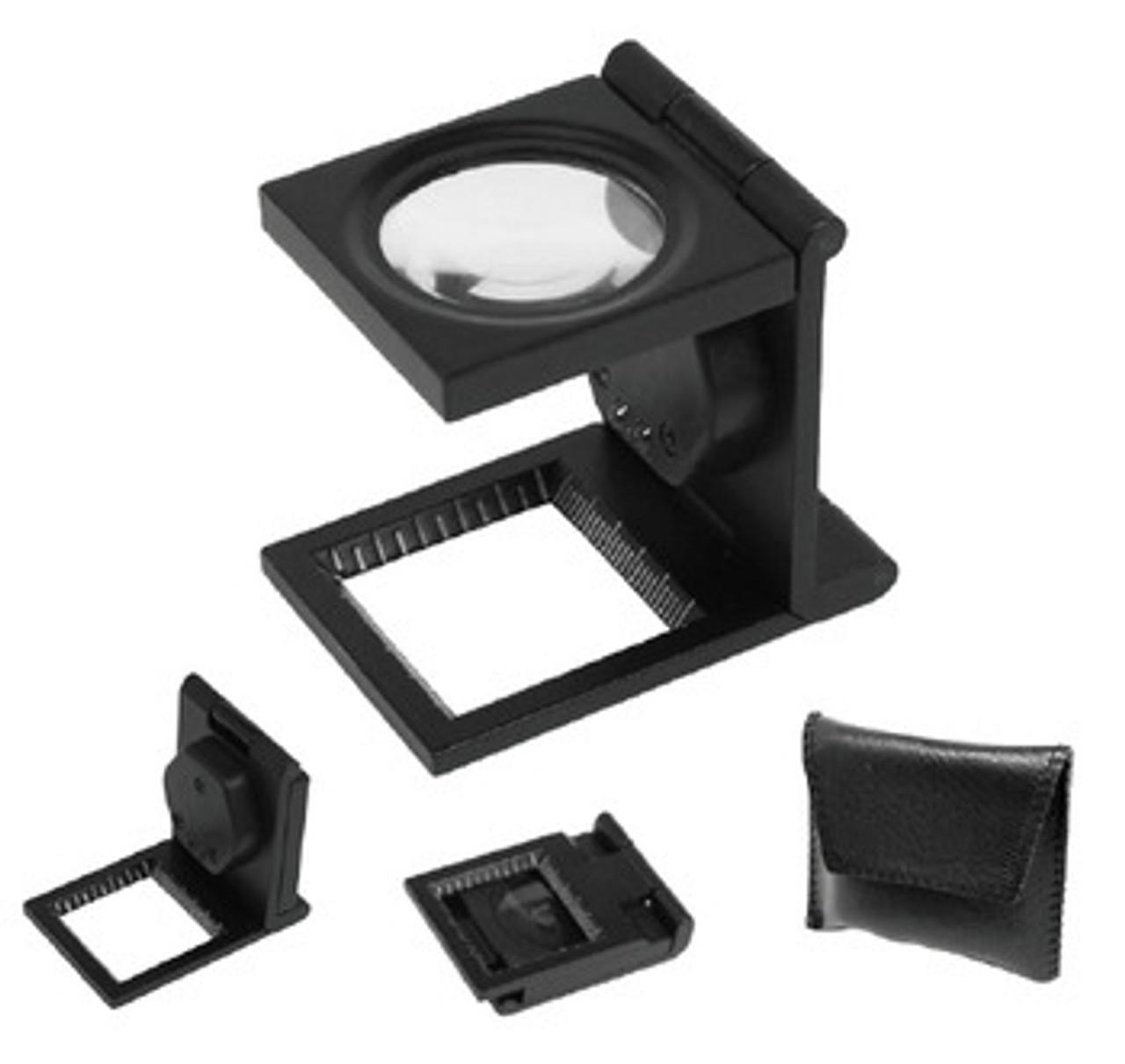 8X Metal Folding Linen Tester , Magnifier with LED Light , fls-LTM8X