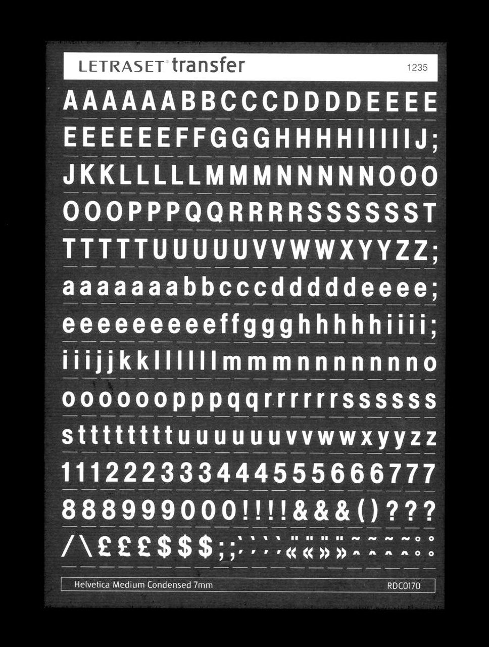 White , Letraset , 7mm , Helvetica Medium Condensed , RDC0170