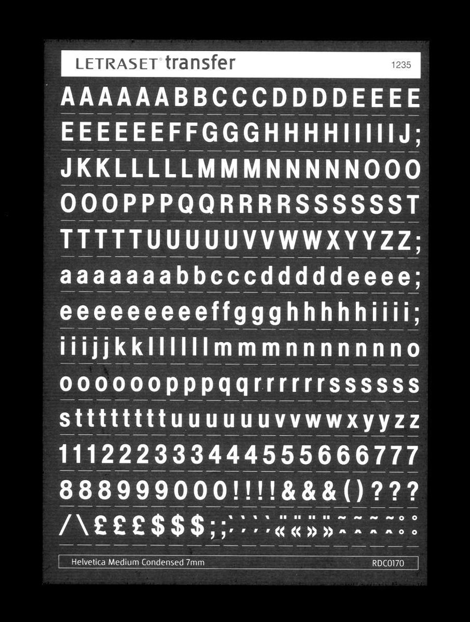 7mm, White , Helvetica Medium Condensed , Letraset , RDC0170