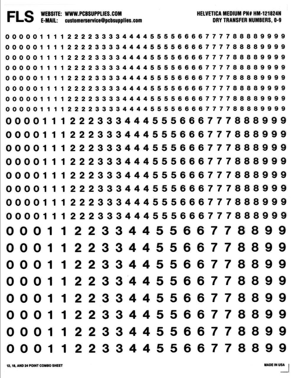 Number Decals , Rub on , Numerals, 12, 18, 24, point, numbers, HM-121824N , Black, Helvetica Medium, 12pt, 18pt, 24pt