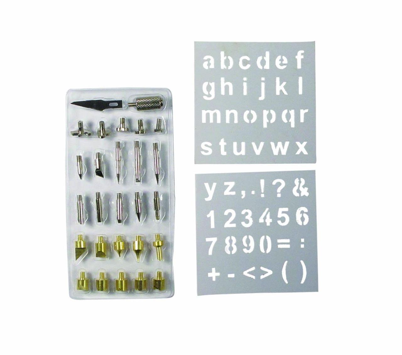Soldering Wood Burning Tip Set 28pc with number and letter stencils (se-Tip28Set)