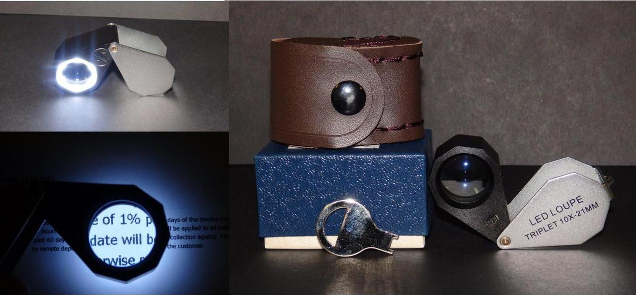 10X, 21mm, Triplet Illuminated, Lighted, Teardrop Loupe, with Case, 10x-37801