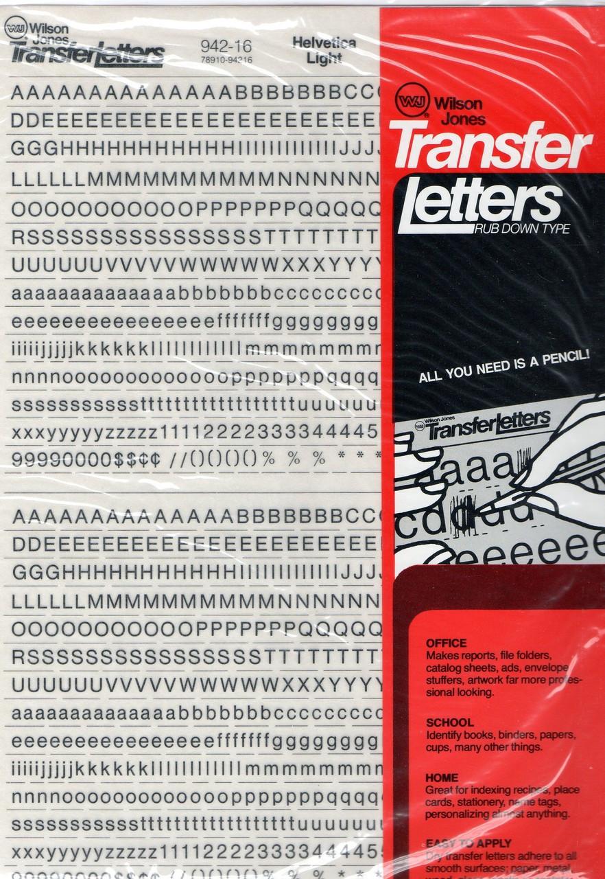 Dry Transfer Lettering, 16 point, Helvetica Light, 942-16