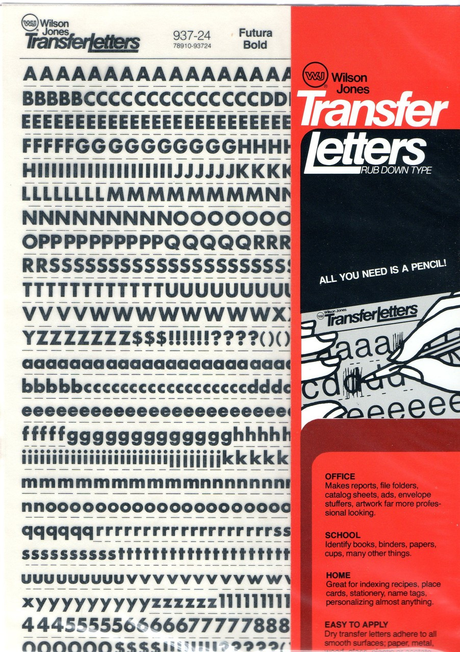 Rub On Dry Transfer Lettering Decals 24pt 1/4