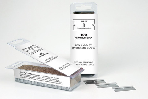 Single Edge Razor Blades 100 box Blade 9 , was SE1-100 now 94-0115, Aluminum backed, Personna