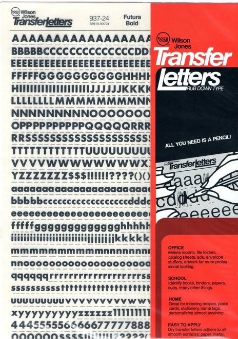 24pt , Black , Futura Bold , Rub On Dry Transfer Letter Decals , 937-24