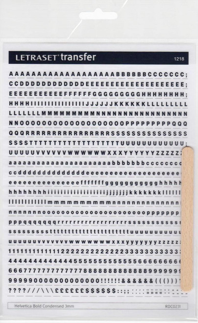 3mm, Helvetica Bold Condensed , Letraset, RDC0231