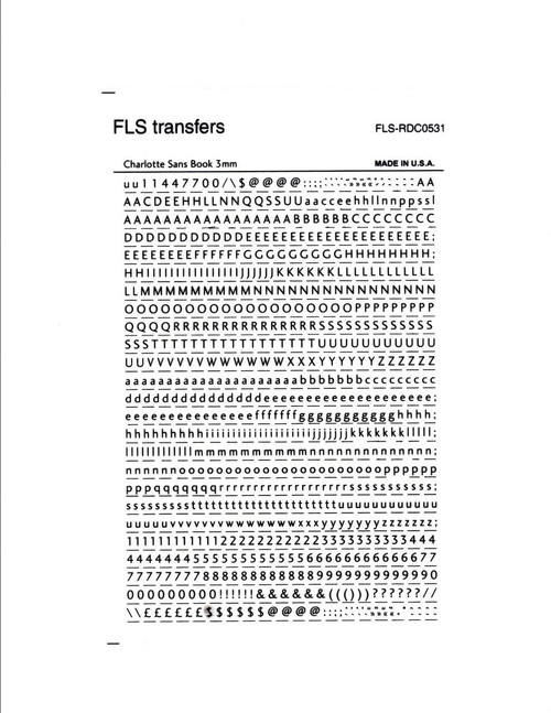 3mm, Charlotte Sans Book , Black , FLS replaced Letraset, FLS-RDC0531, FLS Transfers
