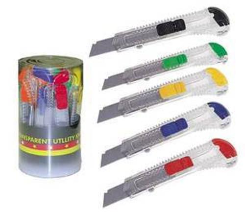 Utility Knife, Boxcutter, Plastic, Safety Cutter, Bulk Case, qty 192, Bulk30112UC-BLK4