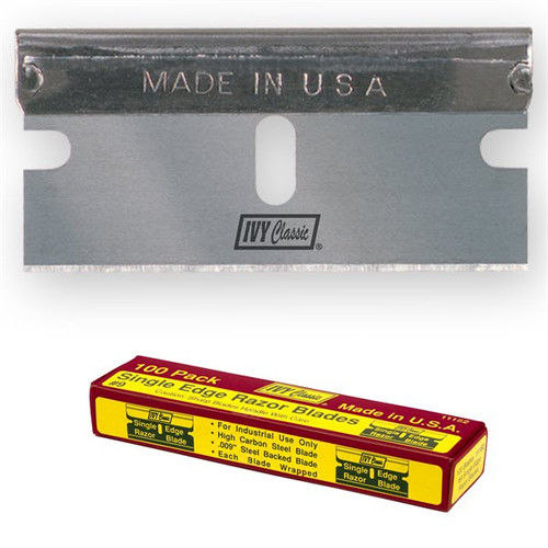 Steel Back Single Edge Razor Blades 100, sz 9 Heavy Duty (IVYse-9-11182)