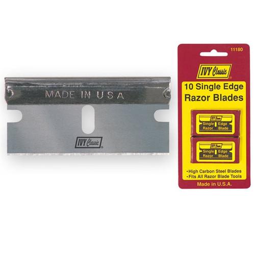 IVY 10 Pack Steel backed Single Edge Razor Blades (IVY10pk-11180)