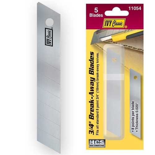 "IVY 8pt 3/4"" Break Away Utility Knife Blades 5 pack MPN: 11054 (IVY11054)"