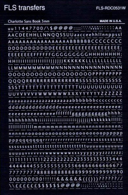 Letraset  FLS, Dry Transfer Lettering , Rub On , 3mm , RDC0531, RDC0531W, Charlotte Sans Book White
