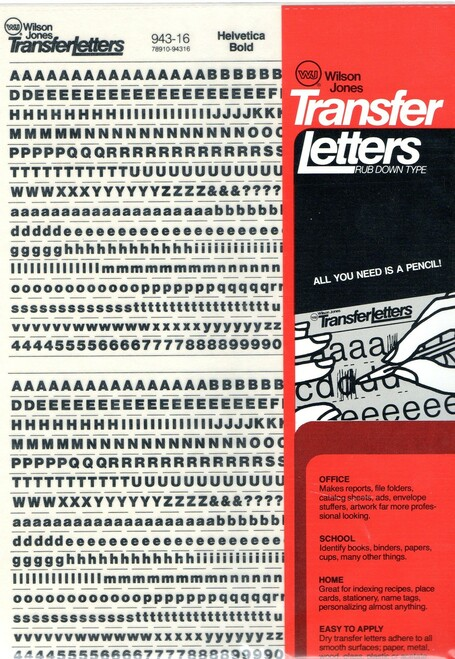 Dry Transfer Lettering, 16 point, Helvetica Bold, 943-16