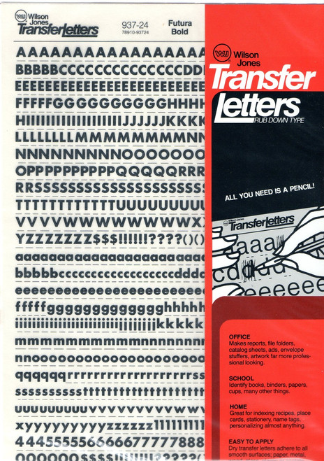"Dry Transfer Lettering, 24 point, 1/4"", Futura Bold, 937-24"